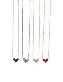 925Silver AAA♥HEART 루비 바이올렛 핑크_Necklace