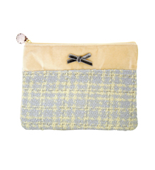 Tweed&Velvet_yellow_사각파우치_Pouch