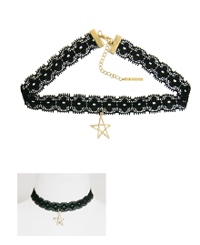 Star☆_Black Lace_쵸커_Necklace