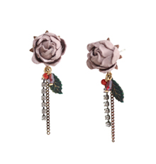 Makin Out_Flower_스웨이드_pink_Earrings