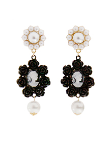 Oh my lady_black flower_까메오_Earring