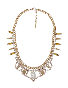 Pink&Yellow glow_Crystal+Stud_Necklace