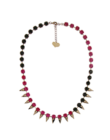 The funky girl_Hot pink+Gray+Stud_Necklace